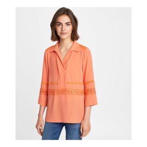 Karl lagerfeld Paris orange embroidered tunic top